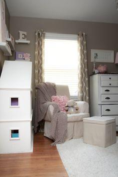 Love this cozy nook in this neutral, yet feminine room. #nursery #projectnursery