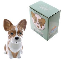 Fun French Bulldog Design Ceramic Money Box  Save your pennies in our range of cute and novelty money boxes.  Made from ceramics all come with a slot in the top and a rubber bung on the bottom. These are a great gift idea for all the family.  Dimensions: Height 15cm Width 8cm Depth 14cm