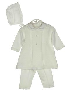 NEW Will'Beth White Cotton Knit Dress, Leggings, and Bonnet Set with Embroidery and Seed Pearls $70.00