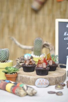 Campfire cupcakes at an  Indian birthday party! See more party planning ideas at CatchMyParty.com!