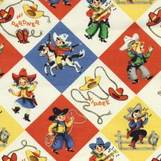 Retro cowboy fabric - Michael Miller