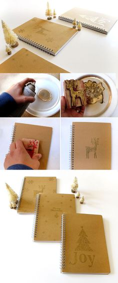 Make these custom gold notebooks for Christmas gifts this year!