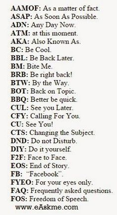 Best Facebook Abbreviations for Chatting Texting