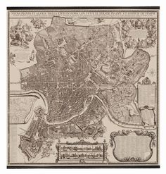 "Rome Map - 1676, 84.75"" x 78.75"""