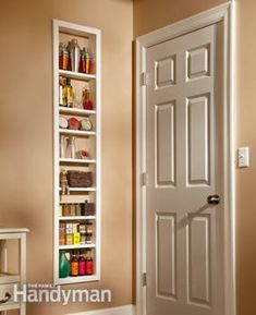 Use this project for built-in shelves to unlock hidden storage space between the studs in your walls. Install a single, open box of shelves, or install two boxes and add a set of glass doors. Maybe for storage in kitchen and can cover with Ikea panels? Built In Shelves, Glass Shelves, Built Ins, Build Shelves, Recessed Shelves, Narrow Shelves, Box Shelves, Rustic Shelves, Open Shelves