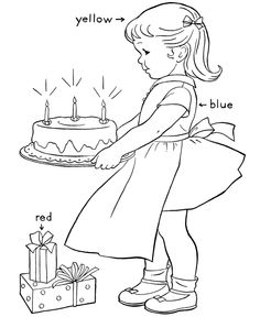 Learning Colors Coloring pages   Birthday Cake