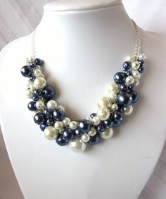 Pearl Cluster Necklace Set in Navy and White - Penn State Proud - Chunky, Choker, Bib, Necklace, Wedding, Bridal, Bridesmaid