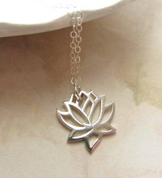 Sterling Silver Necklace with Open Lotus by RachellesJewelryBox