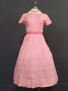-Vintage-50s-Rockabilly-Pin-Up-Dress-Pink-Gingham-Dolly-Peter-Pan-Swing-M-L