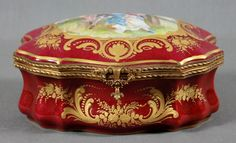 A Sevres Style Porcelain and Gilt Metal Mounted Box, signed Dauchot. Width 7 3/4""