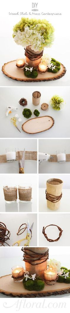 Simple DIY design for your rustic wedding.  Glue burlap to clear glass cylinder vases and votives, wrap with bark wire, fill with your favorite faux flowers and arrange on a wood slab.  Simple and beautiful!  Find everything you need for this Wood Slab and Moss Centerpiece DIY at Afloral.com.