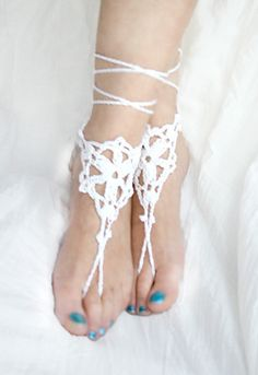 Beach wedding barefoot sandal White crochet sandles by MarryG, $15.00