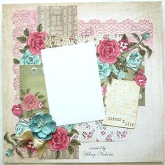Layout Kit 4 with Kaisercraft's Needle & Thread, created by Hilary Nicholas Scrapbook Examples, Scrapbook Page Layouts, Scrapbooking Ideas, Friend Scrapbook, My Scrapbook, Heritage Scrapbooking, Anna Griffin, Needle And Thread, Albums