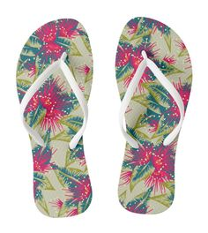 tropical floral print thongs jandals new zealand rata flowers pink