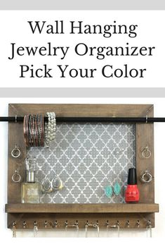 Jewelry Holder - Pick Your Color Quatrefoil - Wall Hanging Jewelry Organizer. #ad