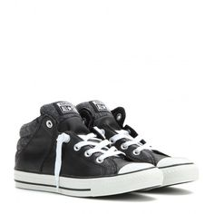 Converse Chuck Taylor Axel Mid Leather Sneakers ($61) ❤ liked on Polyvore featuring shoes, sneakers, black, converse, converse shoes, leather trainers, converse sneakers, genuine leather shoes and real leather shoes