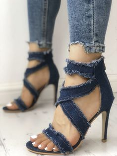 Criss Cross Frayed Denim Thin Heeled SandalsThis board is about women shoes for work Stilettos, Pumps Heels, Stiletto Heels, Heeled Sandals, High Heels Outfit, Hot High Heels, Sandals Outfit, Shoes Sandals, Strappy Shoes