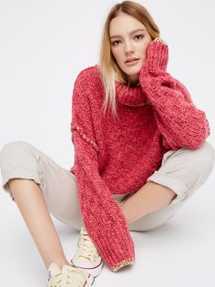 Echo Pullover | Irresistibly cozy turtleneck sweater with a chunky knit fabrication. Features an oversized, drapey shape and contrast details on the neckline, sleeve cuffs and hem.