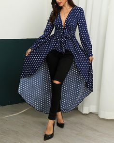 Buy it before it ends. There is always many products on sae upto - Polka Dot Print Ruffles Dip Hem Asymmetrical Blouse 2019 Summer Women Elegant Long Leisure Shirt Ladies Office Work Casual Top - eTrendings Work Casual, Casual Tops, Trend Fashion, Style Fashion, Polka Dot Print, Polka Dots, Pattern Fashion, African Fashion, Blouses For Women