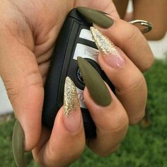 Stiletto Nails. Matte Nails. Gold Nails. Gold Glitter Nails. Army Green Nails. Olive Green Nails. Acrylic Nails. Gel Nails.