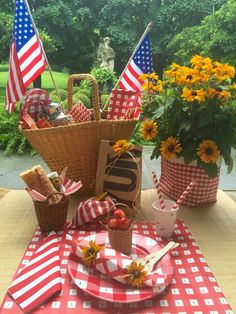 Some DIY blue ribbon bows made on the easy to use DecoFun Bow Maker would complete a patriotic look for this fun table setting. www.decofunbowmaker.com