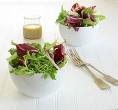 Healthy salad recipe from the Post Ranch Inn, made with super food radicchio, frisee, butter lettuce, and arugula.