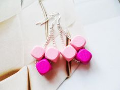 Fun Scandinavian earrings with sterling silver hooks and wood cube beads, whimsical jewelry, Selma Dreams colourful and bohemian gifts by SelmaDreams on Etsy