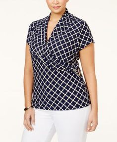 2a7707ba9bd Charter Club Plus Size Printed Crossover Wrap Top