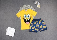 Just for you Sponge Bob lovers out there!    Item Type:  Sets      Department Name:  Children      Outerwear Type:  Coat      Pattern Type:  Character      Sleeve Style:  Regular      Brand Name:  Sun Moon Kids      Closure Type:  Pullover      Gender:  Unisex      Style:  Fashion      Material:  Cotton,Polyester      Collar:  O-Neck      Sleeve Length:  Short      Model Number:  Clothing set      Clothes:  boys clothes,kids clothing      Clothing set:  children clothing,girls clothes sets…
