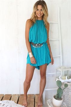 Available Sizes :S;XL Bust(cm) Waist(cm) Hip(cm) Type :Loose Material :Cotton Blend Color :Blue Decoration :Belt, Condole Belt Pattern :Plain Collar :Collarless Length Style :Above Knee Sleeve Length :Sleeveless Cheap Blue Dresses, Summer Dresses, Women's Fashion Dresses, Boho Fashion, Sabo Skirt, Body, Casual Outfits, Style Inspiration, Street Styles