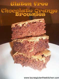 Gluten free Chocolate Orange Brownies --- these are made using chocolate spread instead of melted chocolate or Cocoa powder. I just used a Tesco brand orange chocolate spread, they are so yummy. They taste like a Terry's Chocolate Orange  flavored brownie.