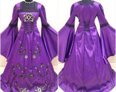 Middeleeuwse bruiloft jurk 20-22-24 XL-2XL-3XL goth heks tudor