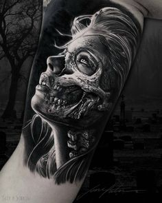 Wicked Tattoos, Creepy Tattoos, Skull Tattoos, Leg Tattoos, Body Art Tattoos, Sleeve Tattoos, Tattoos For Guys, Girl Tattoos, Skull Couple Tattoo