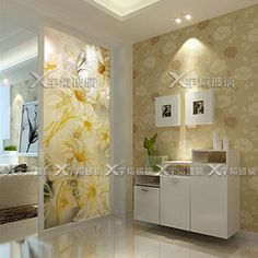 Modern art glass vestibule partition screens carved double-sided translucent…
