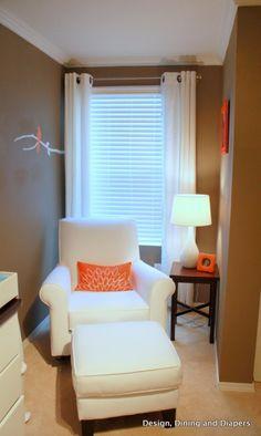 modern nursery, orange accents, orange and gray, bird themed, white nursery furniture, trees