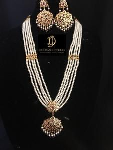 Ready to ship necklace with earrings made using pearls with polki and gold plating delivered in days within USA days worldwide Emerald Necklace, Necklace Set, Beaded Necklace, Gold Necklace, Pearl Jewelry, Pendant Jewelry, Gold Jewelry, Pendant Necklace, Jewellery