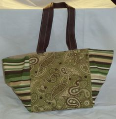 Green and Brown Paisley Cube Purse with Brown by DualPursonalities, $30.00