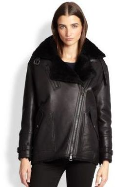 $2,995, Black Shearling Jacket: Burberry Brit Sheppington Shearling Moto Jacket. Sold by Saks Fifth Avenue. Click for more info: https://lookastic.com/women/shop_items/116793/redirect