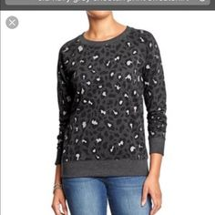 Grey cheetah print sweatshirt Grey cheetah print sweatshirt ..Old Navy size large Old Navy Sweaters Crew & Scoop Necks