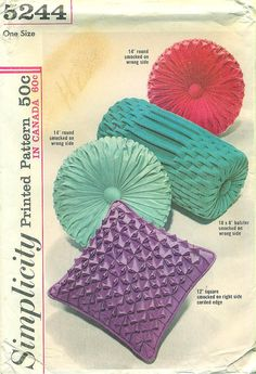Simplicity 5244  UNCUT    Patterns and instructions for pillows:  12 Square 14 Round 18 x 8 Bolster Turquoise Cottage, Canadian Smocking, Vintage Home Accessories, Velvet Pillows, Blue Pillows, Accent Pillows, Round Pillow, Bolster Cushions, Sofa Pillows
