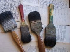 Antique  Group of Old Chippy Paintbrushes  With by ShaneLilyRain