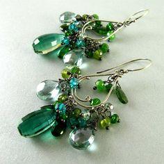 Green Gemstone  Chandelier Earrings, Quartz Chrome Diopside, Tsavorite, Apatite