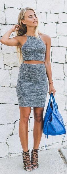 Janni Deler Royal Blue Tote Grey Matching Skirt Set Leo Lace Up Sandals