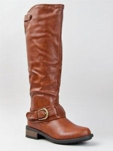 Knee High Stacked Heel Buckle Riding Boot.    Love it!.  #ridingboot #boot #highboot #womanboot