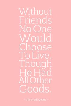 Without Friends No One Would Choose To Live, Though He Had All Other Goods. » Aristotle