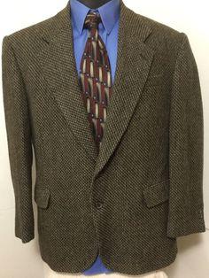 e3a9bd209 Thomas Hill MENS Brown 2 Btn Wool Tweed Sport Coat Blazer Jacket 44R 44  REGULAR