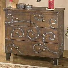 Nailhead cabinet - Turn a plain dresser into something Beautiful using nothing more than  nails/tacks! cool!