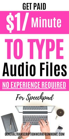 Get paid to type files. Get transcription and captioning jobs for beginners with Speechpad. No experience required. Make up to $1 per audio minute. This is one of the easiest transcription companies for beginners to get transcription jobs. There are plenty of advancement opportunities for entry level transcribers to move up and get higher pay. Typing Jobs From Home, Online Typing Jobs, Online Side Jobs, Best Online Jobs, Legit Work From Home, Legitimate Work From Home, Work From Home Jobs, Make Money From Home, How To Make Money