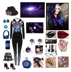 """Galaxy girl"" by hetalia2013 ❤ liked on Polyvore featuring Label Lab, Eddie Borgo, Collection XIIX, HoneyBee Gardens, Eyeko, Christian Dior, Guerlain, Chico's, Beats by Dr. Dre and Chanel"