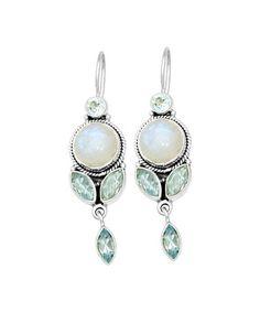 Look what I found on #zulily! Blue Topaz & Rainbow Moonstone Petal Drop Earrings #zulilyfinds